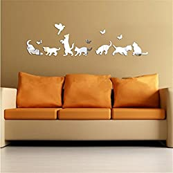 Transer 3D DIY Animal Removable Acrylic Mirror Wall Sticker Mural Home Decal (Silver)