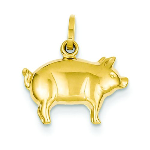 14K Yellow Gold Pig Charm Farm Animal Pendant Jewelry
