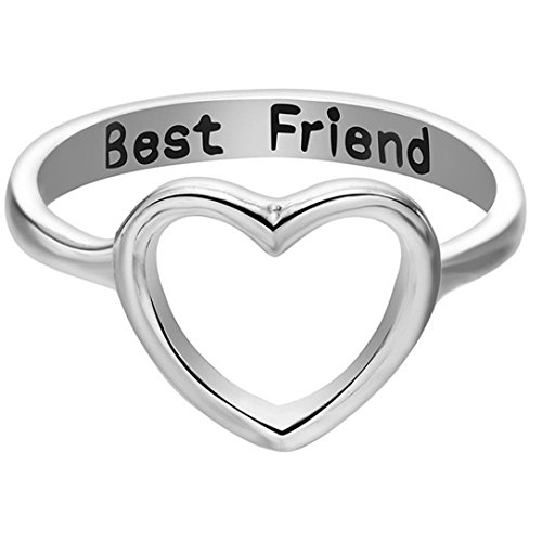OldSch001® Friendship Rings,Fashion Letter Best Friends Ring Simple Hollow Heart Ring (Silver, 6)