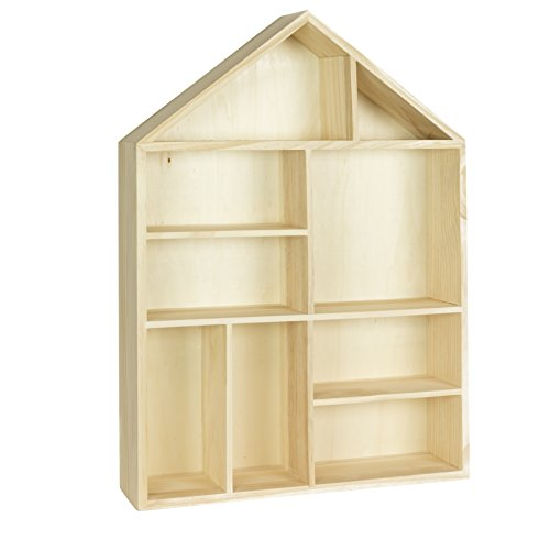 Napoli Wall Mount or Free Standing House Shape Wooden Shadow Cubby Box Storage Knick Knack Shelf , 9 Compartments Arts Collectibles Curio Display Dollhouse , Natural Unfinished Wood (Kids Wall Mount Bookshelf)