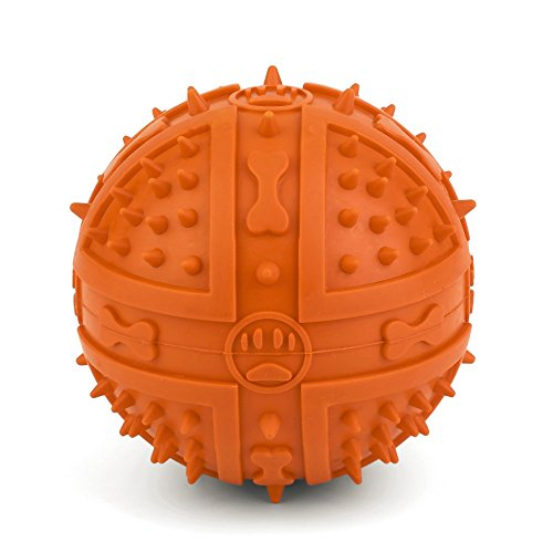 [New Arrival Dog Chew Toy Rubber BB Ball Pet Thorn Squeak Biting Chewing Training Toy Massage Ball Throwing Sound, 3.5-inch] (Bb 8 Dog Costume)