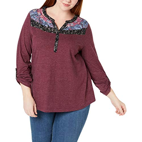 (Style & Co. Womens Plus Printed Adjustable Sleeves Henley Top Purple 2X)