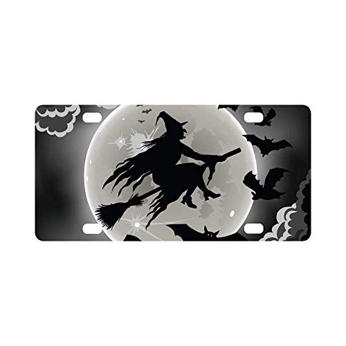 InterestPrint Witch Silhouette with Bats Funny Halloween Theme Automotive Metal License Plate Car Tags Cover for Woman Man, 12