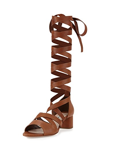 Miu Miu Leather Ankle-Wrap Gladiator Sandal, Cuoio 38.5
