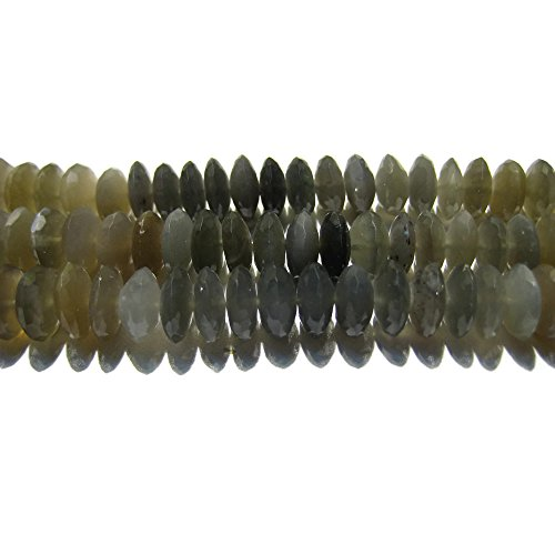 - 8 Inch Strand/46 Pieces/Grey Moonstone German Cut Faceted Rondelles Disc Beads/Size 9mm Each
