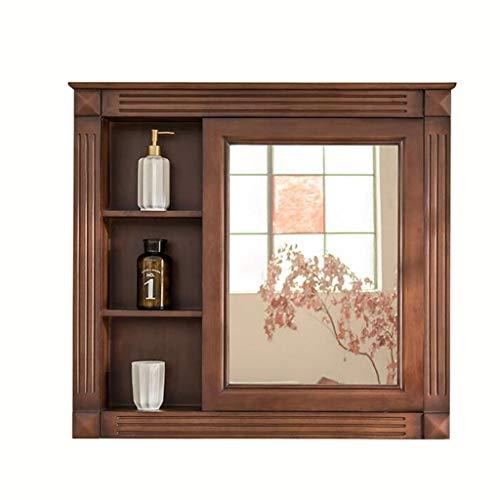Medicine Cabinet Bathroom Mirror Cabinet Solid Wood Mirror Cabinet Multifunctional Bedroom Mirror -
