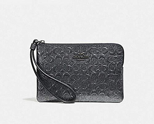Coach Vinyl - Coach Crossgrain Leather Corner Zip Wristlet Wallet (Charcoal)