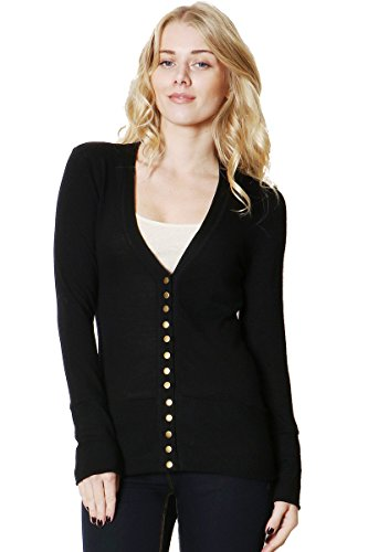 ClothingAve. Women's Snap Button Sweater Cardigan with Ribbed Detail-Black-XL (Womens Snap Black)