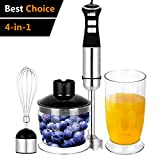 Hand Immersion Blender 5-Speed Control 330 Watt Stainless Steel 4-in-1 Multifunctional Mixer with Chopper, Whisk, Blender Jar, Beaker Attachment for Fruit Baby Food Sauce and Smoothies Black