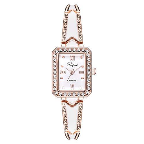 (lightclub Elegant Women Rhinestone Inlaid Square Dial Quartz Bracelet Wrist Watch Gift - Golden Watch for Women Men)