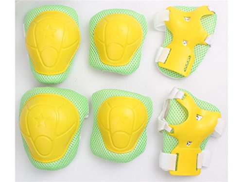 Wetietir Skating 6 Pcs/Set Kid's Protective Gear Set with Elbow Knee Handguard for Roller Skating Skateboard BMX Scooter Cycling (Green Yellow M) for Protection by Wetietir