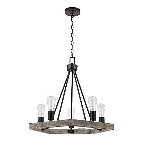(Catalina Lighting 22164-000 Country Rustic Geometric 5-Light Metal Cage Chandelier with Faux Wood Trim, 21