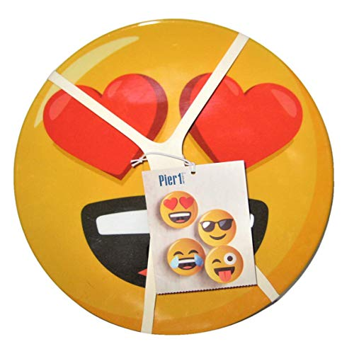 Pier 1 Emoji Smiley Face Melamine 9 Inch Salad Plates, Set of 4 (Melamine Plates Pier One)