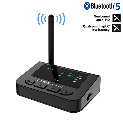 Giveet 265FT Long Range Bluetooth Transmitter Receiver with Audio Pass-Thru for TV Stereo, aptX HD & Low Latency, 3-in-1 Wireless AUX Adapter with Digital Optical 3.5mm RCA, Always On, Plug & Play (Audio Gd Dac)