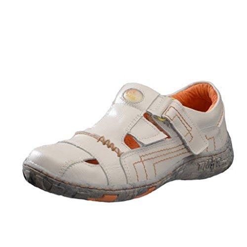 TMA Schuhe 1399 Sandalette Ballerina Gr.36-42 echt Leder mit perforiertem Lederfußbett. SCHUH FÄLLT ETWAS KLEINER AUS in Schwarz, Rot, gelb und Weiß Weiß