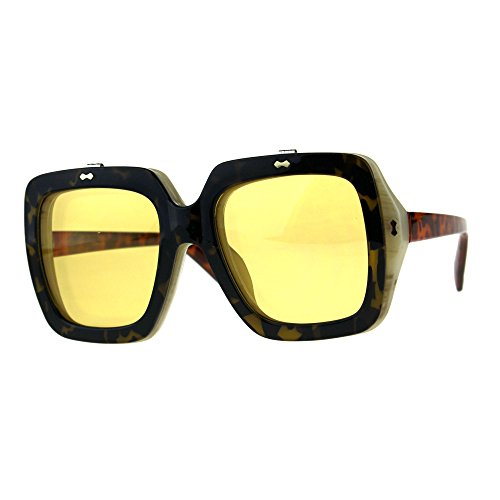 Unique Retro Vintage Flip Up Mob Rectangular Sunglasses Tortoise - Inch 6 Sunglasses