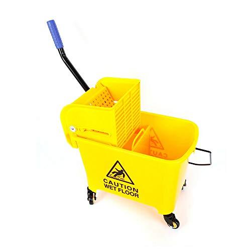 20 liter reinigingswagen met mop, emmer perswisser kunststof poetswagen geel 63 x 27 x 67 cm, voor het reinigen van…