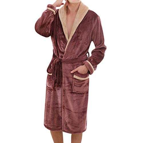 iFOMO Mens Bathrobes with Belt Pockets Long Sleeve V Neck Flannel Pajamas Gown Long Style Thick Padding (Coffee,3XL) (Men Bathrobe Funny)
