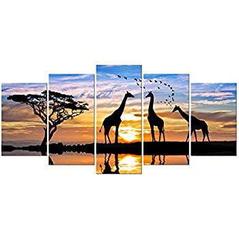 Pyradecor 5 Piece Modern Stretched and Framed African Landscape Giclee Canvas Prints Animals Sunset Artwork Pictures Paintings on Canvas Wall Art for Living Room Bedroom Kitchen Home Decorations