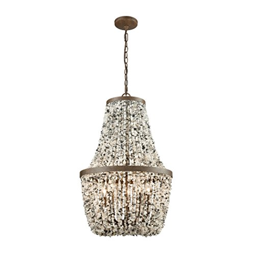 Elk Lighting 65308/5 Agate Stones - Five Light Chandelier, Weathered Bronze Finish with Agate Stones Shade (Weathered Bronze Five Light Chandelier)