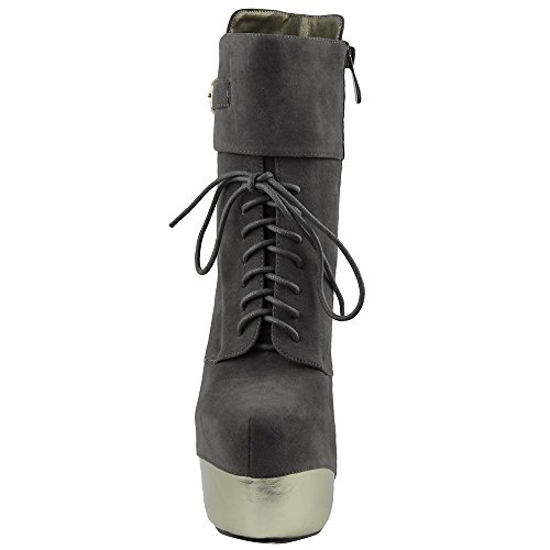 Womens Boots Mid Calf Booties Two Tone Platform Sexy Platform High Heels Gray V1hQG