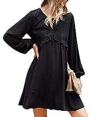 skrskr Women Cute Dress Floral Lace Ruffle Tie Front A-Line V Neck Long Sleeve Autumn Casual Mini Dress