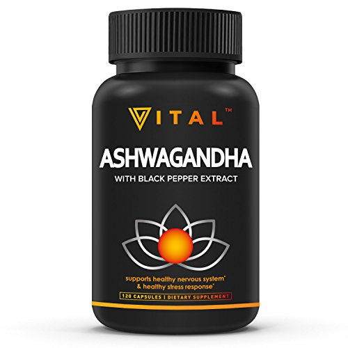Premium Pure Ashwagandha 1200mg – 120 Veggie Capsules for Anxiety Relief, Stress Relief, Adrenal Support, Thyroid Support, Highest Potency, Adrenal Fatigue Supplements, w/Black Pepper Extract