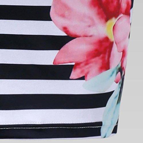 Tank Femmes De Genou O New Dress Robe ADESHOP Mini Jupe Mode LGant Robe Chiffon Tight Fleurs Mini Impression Striped Blanc Au Slim Casual Neck IZxwq0xp