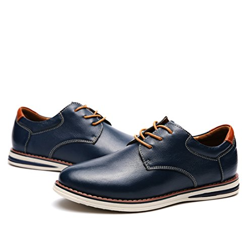Minishion Pojkar Mens Klassiska Cap Toe Oxford Style Fashion Sneakers Mörkblå