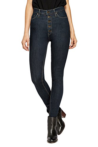 High Button Boots - HyBrid & Company Womens Super Stretch 5 Button Hi-Waist Skinny Jeans Indigo 9