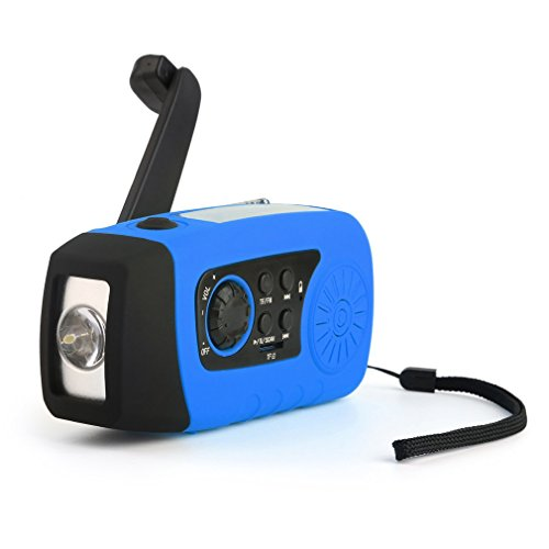 Solar LED Flashlight, OUTAD Portable Hand Crank Self Powered Emergency Radio with 2000mAh Smart Phone Charger, USB Power Bank (Blue)