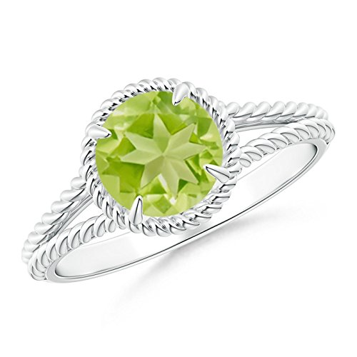 Claw-Set Peridot Twisted Rope Split Shank Ring in 14K White Gold (7mm Peridot) ()