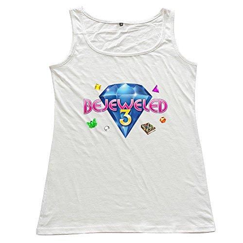 PingAnShu Lady O-Neck Bejeweled 3 Tank Top Shirt