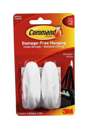Command Designer Bath Hooks, Medium, White, 2-Hooks with Water-Resistant Strips (17081B-ES)