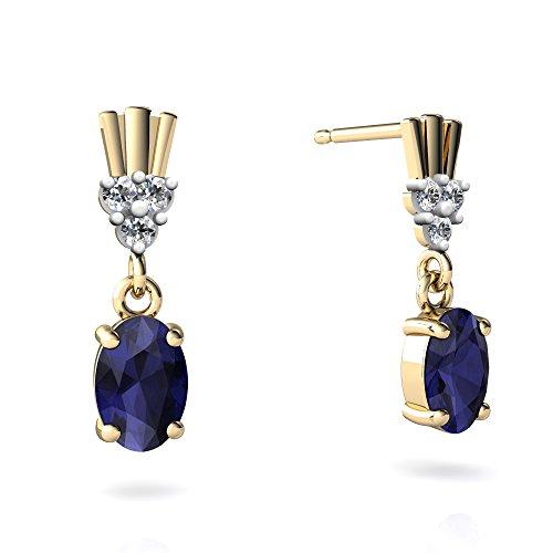 14kt Yellow Gold Sapphire and Diamond 6x4mm Oval Art Deco Dangle Earrings 14kt Gold 6 Diamond Earrings