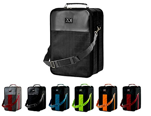 Large Wig Travel Box with Top Handle, Shoulder Strap and Double Zipper, Carrying Case with Removable Head-Holding Base - Black Grid Design - by Adolfo Design