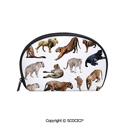 Wildcats Printed Towel - SCOCICI Durable Printed Makeup Bag Storage Bag Collection of Tigersand other Big Wild Cats Predatory Feline Zoo Lying Standing Background for Women Girl Student