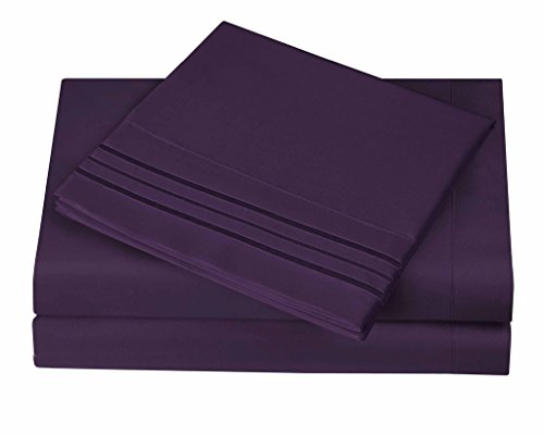 1800 Series Egyptian Collection 3 Line Microfiber 4 Piece Bed Sheet Set (3 Piece Set Bed)