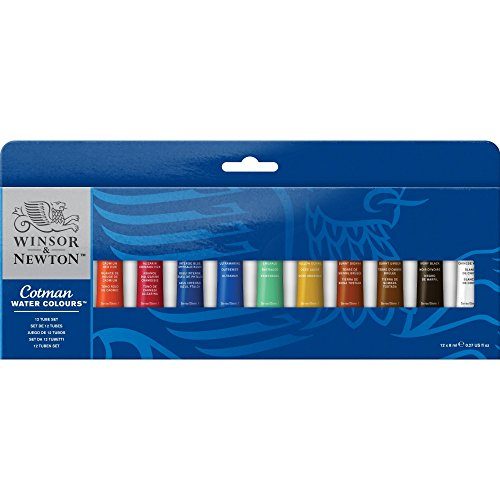 (Winsor & Newton Cotman Water Colour Paint, Set of 12, 8ml Tubes)