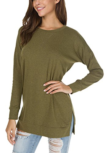 9990a1a6fe levaca Women s Fall Long Sleeve Side Split Loose Casual Pullover Tunic Tops