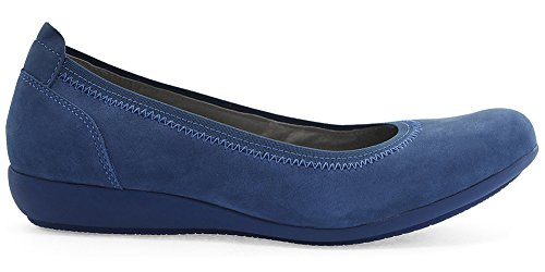 Dansko New Women's Kristen Flat Blue Milled Nubuck - Shoes Leather Nubuck