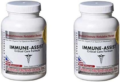 Aloha Medicinals – Immune Assist Critical Care Formula – Cordyceps militaris - Cordyceps sinensis - Mushroom Supplement – Antiviral Properties – Certified Organic – 500mg (2 Pack)