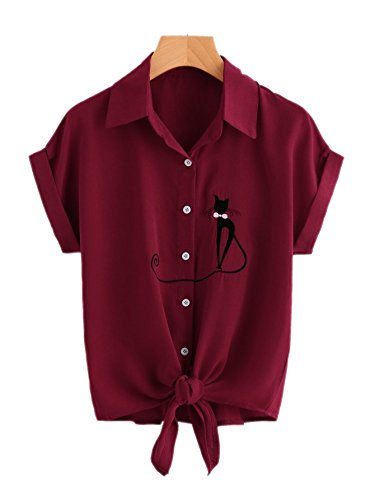 dff91459339 Women s Tie Front Knot Basic Simple Button-Down Shirt with Cute Cat  Embroidered