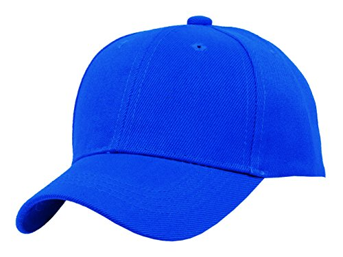 TOP HEADWEAR TopHeadwear Blank Kids Youth Baseball Adjustable Hook and Loop Closure Hat -Royal Blue