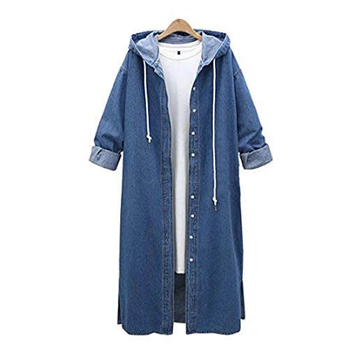 Jean Coat for Women Hooded Casual Denim Jacket Long Outwear Overcoat -