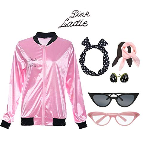Retro 1950s Pink Ladies Polka Dot Style Headband Costume Accessories Set ()