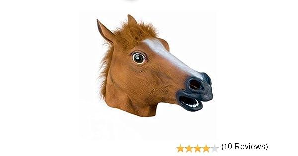 OULII Principal completo máscara cabeza de caballo máscara piel escalofriante Mane loco de látex de caucho Super Creepy Halloween fiesta disfraz: Amazon.es: ...