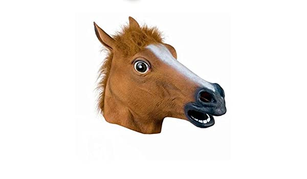 Amazon.com: Full Head Mask Horse Head Mask Creepy Fur Mane Latex Crazy Rubber Super Creepy Party Halloween Costume Mask: Toys & Games