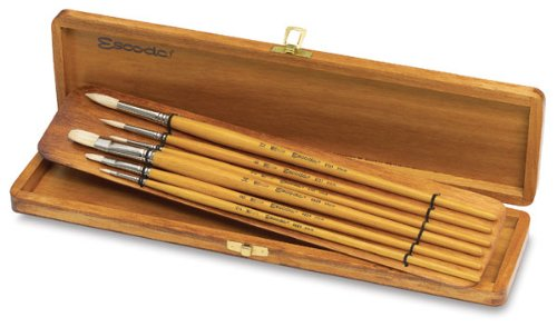 Escoda Brush Clasico Wood Box Set Flat/Round