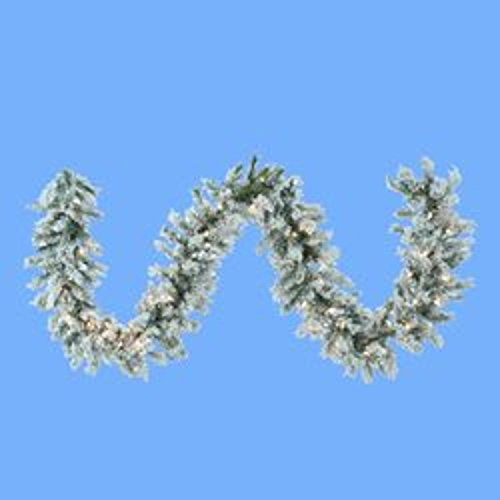 9' Pre-lit Flocked Norway Pine Artificial Christmas Garland - Clear Lights by KSA